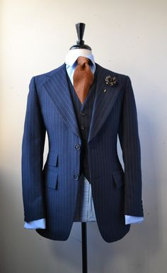 A classic 3 piece pinstripe suit Suit Up, Suit And Tie, Sharp Dressed Man, Well Dressed Men, Mens Attire, Mens Suits, Suit Fashion, Mens Fashion, Latex Fashion