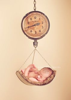 newborn photographer, baby in a vintage fruit scale