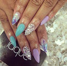 Lavender, Teal, Glitter, Rhinestones, & Seashells