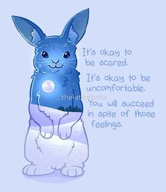 """It's Okay to Be Scared"" Night Snow Rabbit by thelatestkate"