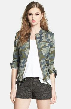 Halogen® Stretch Cotton Twill Military Jacket (Regular & Petite) available at #Nordstrom