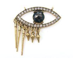 Eye Pendant Evil Eye Rhinestone Blue Black Antique Gold