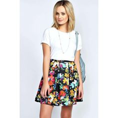 Boohoo Bea Bold Floral Print Box Pleat Skater Skirt ($8) ❤ liked on Polyvore featuring skirts, multi, floral print pencil skirt, floral print skirt, floral skater skirt, floral a line skirt and circle skirt