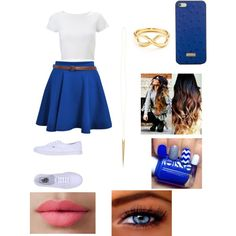 A fashion look from June 2014 featuring Lipsy, blue skater skirt and vans sneakers. Browse and shop related looks.