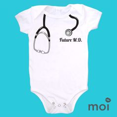 Your baby is a child prodigy-it came out of the womb ready to put on a stethoscope! Show off your future doctor with this adorable tromp l'oeil style design by Moi. *We carry this item in various sizes! Visit our shop for more great selections! (baby, onesie, cute, funny, bodysuit, infant, newborn, clothing, saying, gift)