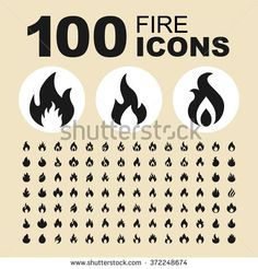 Fire and flame icons. Bonfire pictogram. Burn vector graphic. Ignite design collection. - stock vector