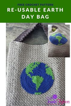 Free pattern featuring an earth tapestry appliqu� that is worked in an increasing round, and the moss stitch makes up the bag.