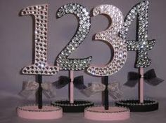 crystal accent table numbers