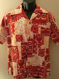 Royal Hawaiian 1950s 60's Vintage Barkcloth Button Down Shirt Mens No size Tag #RoyalHawaiian #Hawaiian