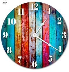 Sugar Vine Art Large Wall Clock Decorative Round Wall Clock Home Decor Novelty Clock Worn Colored Wood Boards Rustic Clock Woodworking Workshop, Woodworking Projects, Deco Tv, Party Cooler, Novelty Clocks, Living Room Clocks, Outdoor Clock, Diy Clock, Clock Ideas