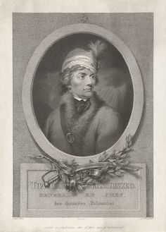 Christiaan Josi | Portret van Andrzej Tadeusz Bonawentura Kościuszko, Christiaan Josi, 1772 - 1843 | Busteportret van Andrzej Tadeusz Bonawentura Kościuszko, in militair kostuum. Het portret is gevat in een ovale omlijsting en hangt aan een haak. Onder de omlijsting een sabel, ketens en gebladerte. In het kader de naam van de geportretteerde en een tweeregelig onderschrift in het Frans.
