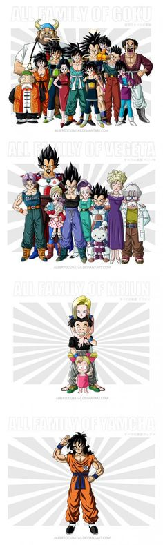 All Families Of Dragon Ball. The Last One Makes Me Cry...  They forgot 17