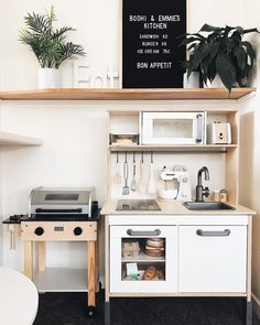 Marie Kondo, bestselling author of The Life-Changing Magic of Tidying Up and Spark Joy, has developed a foolproof organization technique called the KonMari Kitchen Set Up, Mini Kitchen, Ikea Play Kitchen, Compact Kitchen, Kitchen Small, Playroom Design, Playroom Decor, Playroom Ideas, Bedroom Decor