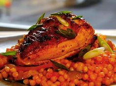Garlic Chicken with Israeli Couscous Recipe : Anne Burrell : Food Network - FoodNetwork.com