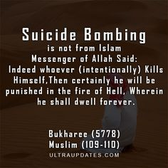 Suicide is not allowed in Islam so who said suicide bombing is accepted? Stop the misrepresentation of islam. Terrorists have NO religion. Best Islamic Quotes, Beautiful Islamic Quotes, Islamic Inspirational Quotes, Muslim Quotes, Motivational Quotes, Funny Quotes, Beautiful Images, Inspiring Quotes, Tgif