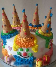 Discover recipes, home ideas, style inspiration and other ideas to try. Barbie Birthday Cake, 21st Birthday Cakes, Barbie Cake, Carnival Birthday Parties, Clown Cake, Rodjendanske Torte, Clown Party, Funny Cake, Halloween Cupcakes