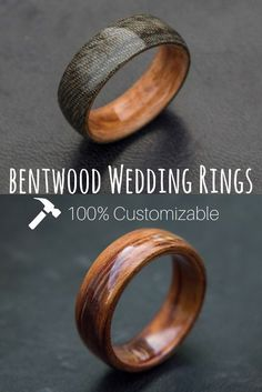 Mens bentwood weddin Mens bentwood wedding bands. These wood rings are 100% customizable. You can even send us wood to use for your ring. The most unique bentwood wedding rings!