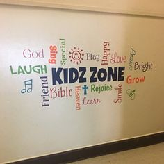 Misty Frank added a photo of their purchase Kids Church Rooms, Church Nursery, Youth Rooms, Kids Church Stage, Church Lobby, Church Fellowship, Sunday School Rooms, Removable Vinyl Wall Decals, Wall Vinyl