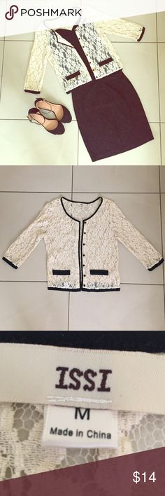 Listing Ivory and Black Lace Cardigan Size M but runs like a S. Excellent condition. Perfect for work. Sweaters