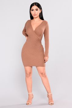 Justina Ribbed Dress - Brown