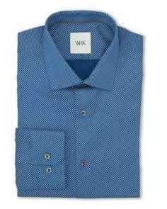 Dark Blue Mini Square Slim Fit Dress Shirt