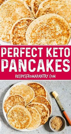 Looking for the perfect keto pancakes? Youve found them in this light and fluffy ketogenic pancakes recipe made with cream cheese almond flour eggs vanilla and nutmeg. Also a gluten free pancakes recipe. via Recipes From A Pantry Keto Diet Drinks, Diet Menu, Keto Approved Foods, Low Carb Pancakes, Ricotta Pancakes, Cream Cheese Pancakes, Pumpkin Pancakes, Banana Pancakes, Keto Diet Benefits