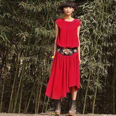 #Swanmarks Liebo Chinese Traditional Style Waist Embroidery Chiffon Dress
