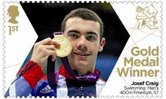 Paralympics Gold Medal Winner stamp - Swimming: Men's 400m Freestyle, S7, Josef Craig.