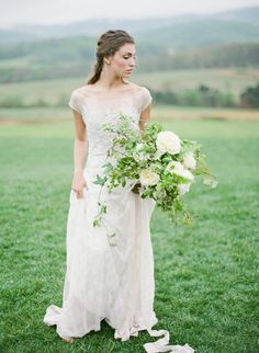 organic white and green bouquet | Bell Lumiere Wedding Workshop at Pippin Hill…