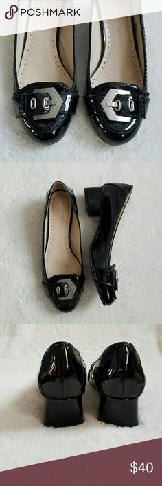 """Adrienne Vittadini Buckle Heels Adrienne Vittadini black patent leather shoes with a low chunky heel. These shoes are in EXCELLENT condition, only worn ONCE! Geometric looking silver buckles on the toes. Heels measure 1.5"""". Great for work or a special occasion! Adrienne Vittadini Shoes"""