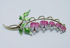 KREMENTZ Antique Bleeding Hearts Flower Enamel Brooch 14K Gold Estate Jewelry