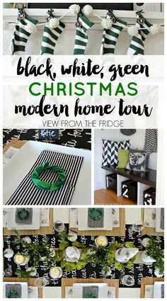 Black, White, and Green Modern Christmas Home Tour | View From The Fridge