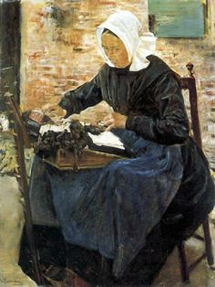 Une dentellière hollandaise. Huile sur toile 1881 de Max LIEBERMANN (allemand 1847 - 1935) Hamburger Kunsthalle - Hambourg