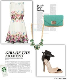 Foral Look For A Perfect Summer Day feat. our Floral Band Fit and Flare Dress. See the look here: http://stylesets.dailylook.com/sets/88013
