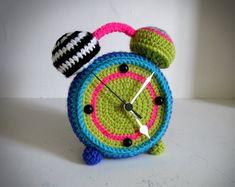 Crochet clock by ManafkaMina on Etsy, ₪350.00
