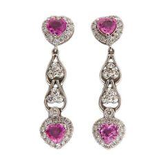 Vintage 2 40ct Heart Pink Sapphire 14k White Gold 58ct Diamond Dangle Earrings | eBay