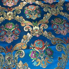 Your place to buy and sell all things handmade Blue Flower Wallpaper, Paisley Wallpaper, Embroidery Suits Design, Hand Embroidery Designs, Brocade Fabric, Drapery Fabric, Durga, Hand Work Blouse Design, Trend Fabrics