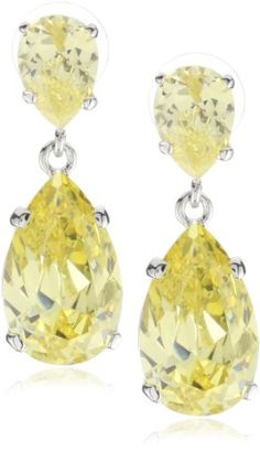 Cz By Kenneth Jay Lane Trend Cubic Zirconia Rhodium Plated Extra Large Yellow Pear Drops