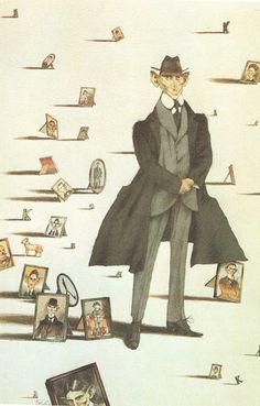 Franz Kafka by Tullio Pericoli Franz Kafka Frases, Famous Short Stories, Teaching Literature, High Renaissance, Mystique, Art Et Illustration, Cartoon Design, Portrait Art, Great Artists