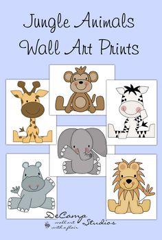Jungle baby animals wall art prints for baby boy or girl safari zoo nursery room decor. Includes six different animals; zebra, lion, elephant, monkey, hippo, and giraffe #decampstudios