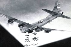 68th Bombardment Group Boeing B-29 Superfortress bomber Tail No. 224494 dropping its bombs during World War II.