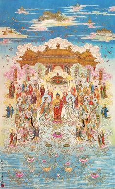 Amitabha Buddha - the Buddha of infinite light Amitabha Buddha, Gautama Buddha, Buddha Buddhism, Buddha Art, Thangka Painting, Buddha Painting, Dalai Lama, Spiritual Images, Tibetan Art