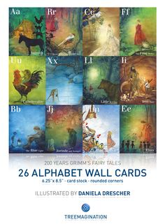 26 Alphabet Wall Cards - Grimm's Fairy Tales - illustrated by Daniela Drescher by Treemagination | Treemagination