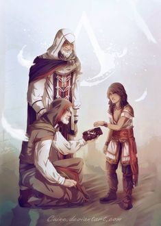 A New Legacy. Altaïr, & Ezio passing the legacy down to a young Connor. Dragon Age, Skyrim, Assassin's Creed Embers, Assassins Creed Memes, Assassin's Creed I, Cry Of Fear, Templer, Pop Culture Art, Cultura Pop