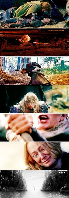 Don't leave me here alone! Don't go where I can't follow! #lotr <<< the battle of the black gate sometimes makes me cry. When Aragorn is trapped and can't get up, you can visibly see Legolas mouth his name, and desperately attempt to fight through the orcs... another reason why I love their friendship.