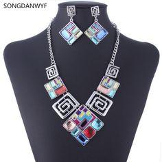 SONGDANWYF African Wedding Jewelry Sets Resin Gems Necklace Earrings Set Square Geometric Jewelry Set Joyeria bijoux femme