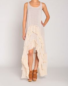 Woven Ruffled Bottom Maxi Dress in Taupe