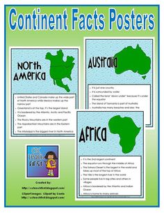 These are for purchase but if I can't figure out how to make my own... I really like them. Continent Facts Sheets/Posters