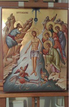 Baptism Of Christ, Jesus Christ, John The Baptist, Religious Icons, Catholic, Saint John, Painting, Art, Christianity