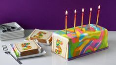 Amazing Rainbow Tie-Dye Number Surprise Cake - tutorial here. Would be awesome to have shape inside cake Amazing Rainbow Tie-Dye Number Surprise Cake TIP: Freeze the numbers before pouring the cake mix over them and baking. Otherwise, the numbers could ri Fondant Cakes, Cupcake Cakes, Tie Dye Cakes, Cake Recipes, Dessert Recipes, Surprise Cake, Number Cakes, Colorful Cakes, Food Cakes
